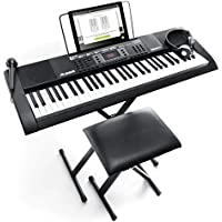 Alesis Melody 61 MKII - 61 Key Digital Electric Piano / Keyboard with Built-In Speakers, Headphones, Microphone, Piano Stand, Music Rest and Stool