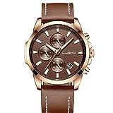 XLORDX Classic Herren Uhren Quarz Datum Chronograph Wasserdicht Uhren Business Casual Sport Design Bruan Lederarmband Rosegold Armbanduhr