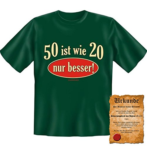 50 ist wie 20 nur besser! Fun T-Shirt 50. Geburtstag tshirt mit Urkunde! Dunkelgrün