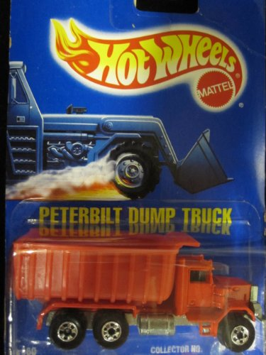 Peterbilt Dump Truck 1990 Hot Wheels Red with Basic Wheels on Solid Blue Card (1:64 Scale Collectible Die Cast Metal Toy Car Model #100 by Hot - Truck Red Dump