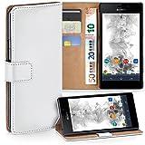 Sony Xperia M2 Hülle Weiß mit Karten-Fach [OneFlow 360° Book Klapp-Hülle] Handytasche Kunst-Leder Handyhülle für Sony Xperia M2/M2 Dual/M2 Aqua Case Flip Cover Schutzhülle Tasche