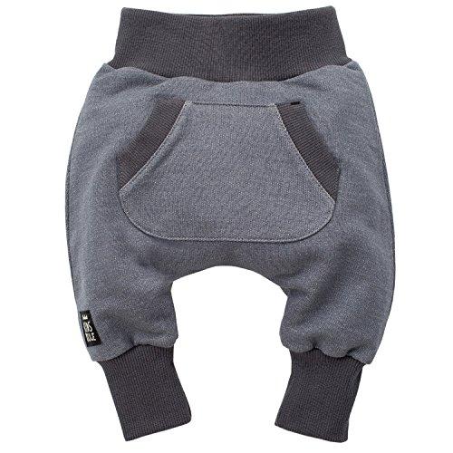 Pinokio - Happy Day - Baby Hose 100% Baumwolle-grau - Jogginghose, Haremshose Pumphose Schlupfhose- elastischer Bund, unisex (92)