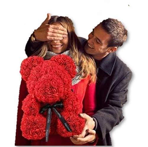 WUBU Rose Bär Teddybär Cub für immer künstliche Rose Jubiläum Weihnachten Valentinstag Geschenk 14
