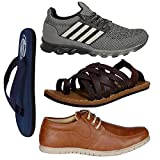 #5: Butchi Men's Combo Pack Of 4 Stylish Sports Shoes, Casual Shoes, Slipper & Sandals