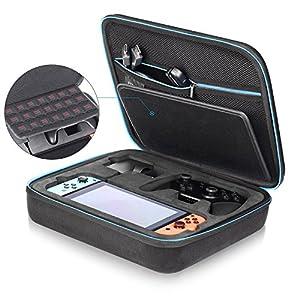 Nintendo Switch Tasche, iAmer Deluxe Tragetasche für Switch Console+ Netzteil +Joy-Con Grip (oder Pro Controller)+ HDMI Kabel+Joy-Con Strap und weiteres Zubehör Enthält 21 Spielpatronen