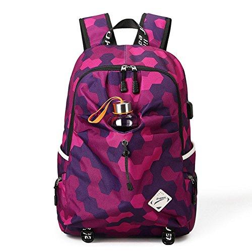 Minetom Unisex Magischer Würfel Muster Schulrucksack Schulranzen Rucksack USB Ladeport Freizeitrucksack Daypacks mit Wasserflasche Fit 15 Zoll Laptop Violett (Bookbag Wickeltasche Für Mädchen)