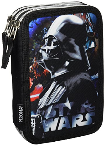 Star Wars-54488 Plumier Triple, Color Negro (Montichelvo 54488