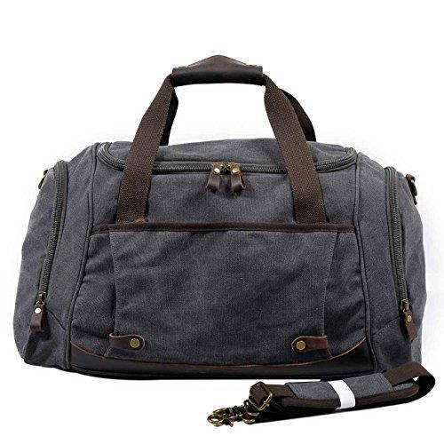 Neuleben Damen Herren Sporttasche mit Schuhfach für Sport Fitness Reise Canvas Vintage Reisetasche mit 40L (Grau)