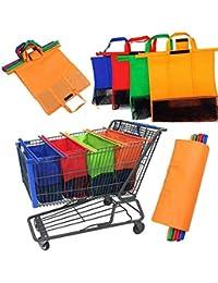 ce526479b Juego de 4 bolsas de la compra de supermercado para carrito de la compra, bolsas  de la compra, plegables,…