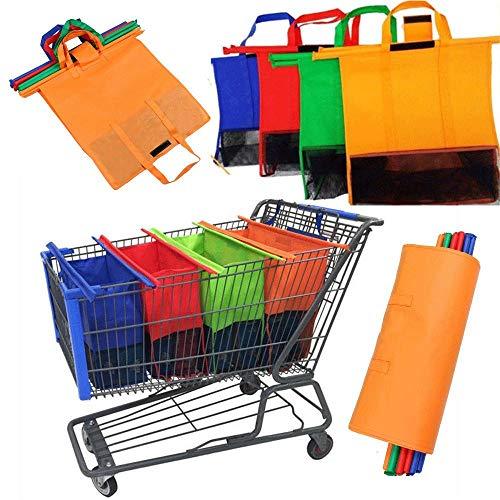 Juego de 4 bolsas de la compra de supermercado para carrito de la compra, bolsas de la compra, plegables, ecológicas, reutilizables