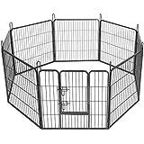Songmics 8-tlg Welpenauslauf für Hunde Kaninchen kleine Haustiere 80 x 80 cm Farben auswählbar (Grau)