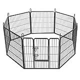 SONGMICS Recinzione Recinto per Cani Conigli Animali di Ferro L 80 x 80 cm Grigio PPK88G