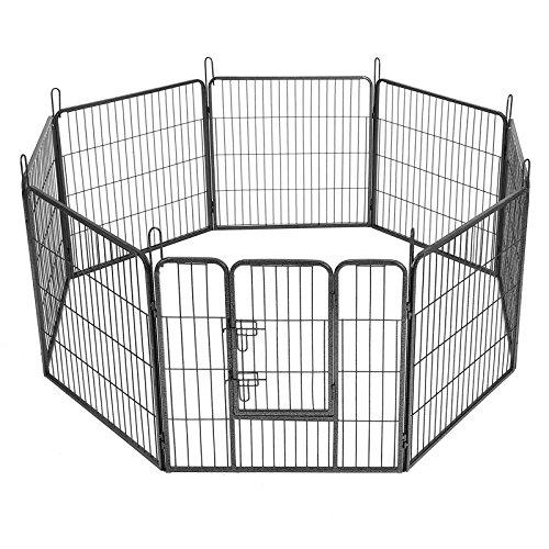 *SONGMICS 8-tlg Welpenauslauf für Hunde Kaninchen kleine Haustiere 80 x 80 cm Farben auswählbar (Grau) PPK88G*
