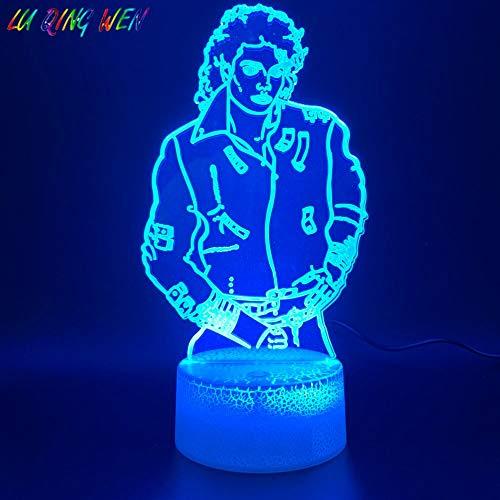 Fengdp 3D Led Nachtlicht Lampe Junge Michael Jackson Abbildung Dekoration Helle Basis Farbwechsel Nachtlicht Urlaub Geburtstagsgeschenk (Decor Jackson Home Michael)