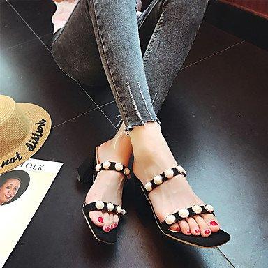 Les femme's Chaussons &AMP; Tong confort Semelle légère tenue décontractée d'été PU Semelles confort Pearl léger talon bloc rouge rose Jaune Noir US6 / EU36 / UK4 / CN36