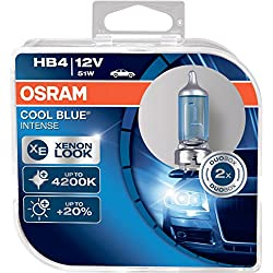 OSRAM COOL BLUE INTENSE HB4, headlight bulb for halogen headlamps, xenon effect for white light, 9006CBI-HCB, 12 V passenger car, duobox (2 units)