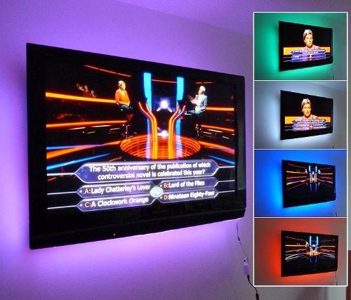 LEDER RGB COLOUR CHANGING STRIP LIGHT SET (6 x 50CM STRIPS   WIRELESS REMOTE amp; SUPPLY) 16 COLOURS - 5 EFFECTS ** IDEAL FOR TV/PLASMA TV BACK LIGHTING, HOME CINEMA **