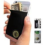 Gecko–Funda para teléfono Cartera y bloqueo RFID, un adhesivo elástico lycra tarjeta soporte universal compatible con la mayoría de teléfonos móviles y casos. Xtra Tall bolsillo cubre totalmente tarjetas de crédito y efectivo negro zorro