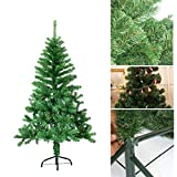 HG® 150cm Grün Weihnachtsbaum künstliche Tanne Zweige Weihnachtsbäume Metallständer Kunststoff Nadeln PVC Hart und Weichnadel sehr hochwertigfür outdoor Innen