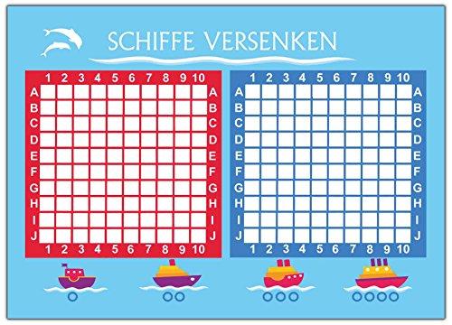 Set 2 Stück= 100 Blatt Schiffe versenken Spiel Block Reisespiel Reise Rätsel für Kinder Mädchen Jungen Erwachsene Kompakt mitbringsel Papier Party Trinkspiel unterwegs original Spieleblock - Kinder-blöcke