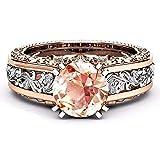 YunYoud Mode Frauen Farbe Trennung Rose Gold Hochzeit Engagement Floral Ring Ring verlobungsringe Eheringe trauringe schmuck freundschaftsringe silberschmuck schöne silberring
