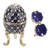 Juliana 15050 Aufbewahrungsschatulle / Schatulle, Design Ei mit Ornamenten, Königsblau