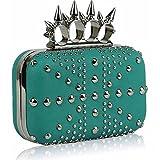 The FabLook Acc Bolsa de noche con tachuelas para mujer, color verde azulado