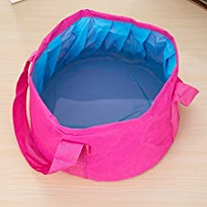 Dreamworld Useful Collapsible Waterproof Cloth Camping Bucket 10 L Folding Buckets Washing Basin Portable Water Basin Bucket Water Pot (1Pc Color as per Availability)