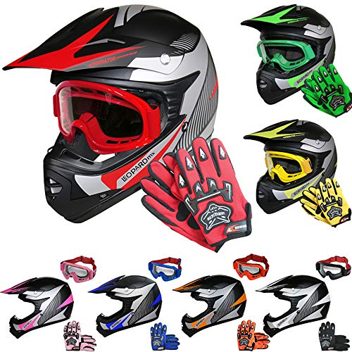 Leopard LEO-X19 Casco de Motocross para Niños Rojo M (51-52cm) y Guantes M(6cm) y Gafas ECE Homologado