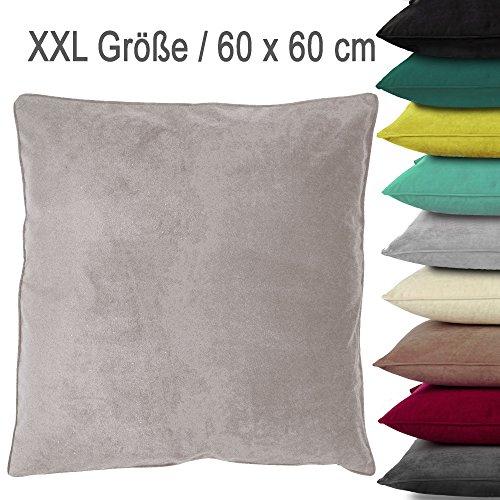 XXL Samt-Kuschel-Kissen VELVET mit RV und herausnehmbarer Füllung / 60x60 cm / Deko-/Zierkissen / Sofakissen / silber (hell-grau)