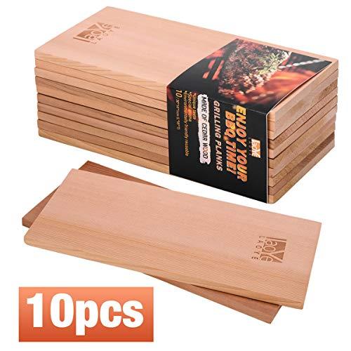 LAOYE 10 Stück Grillbrett Zedernholz XXL Räucherbretter Zum Grillen, (30 x 14 x 1 cm) Grillplanken aus 100% originalem kanadischen Western Red Cedar, Zedernholzbrett zum Grillen (Zedernholz)