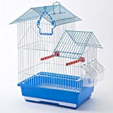Cage à oiseaux double toit bleu 34x34x38cm