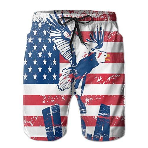 horts Swim Trunks,Grunge Looking American National Flag with Eagle and USA Artistic Print,Summer Cool Quick Dry Board Shorts Bathing SuitXXL ()