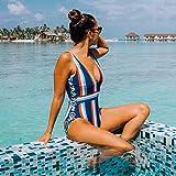 SHENGYUNPIO Lace Up Striped One-Piece Swimsuit Women Slim V-Neck Bodysuit Swimwear New Girl Beach Bathing Suit