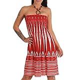 Neckholder Sommer Bandeau Kleid Holz-Perlen Damen Strandkleid Tuchkleid Tuch Aztec (102 Rot)