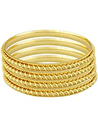 Faas Stylish Fashionable Unique Design Gold Plated Bangles For Womens And Girls Set Of 4