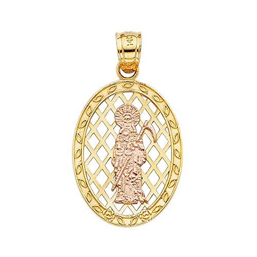 Top Gold & Diamond Jewelry Colgante de Santa Muerte, Oro Blanco Amarillo de 14 Quilates, más tamaños Disponibles