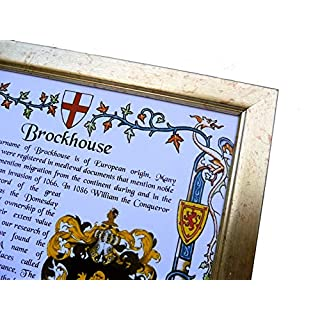 AGS-Designs SURNAME AND COAT OF ARMS -A4 FRAMED - IDEAL GIFT KEEPSAKE
