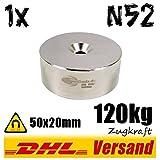 Neodym Magnet Dauermagnet runder Suchmagnet mit Loch 50x20mm 120kg vernickelt
