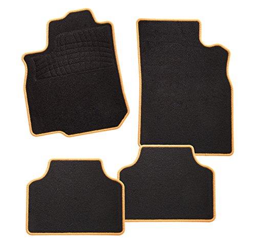 CarFashion 248573 Calypso Orange C03 | Auto Fussmatte in schwarz | Automatten | schwarzer Trittschutz | orange Hochglanz Kettelung | Auto Fussmatten Set ohne Mattenhalter