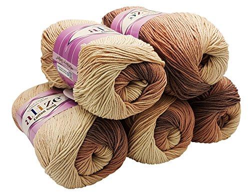Alize Cotton gold 5 x 100g Strickwolle 55% Baumwolle, 500 Gramm Wolle mit Farbverlauf Mehrfarbig (braun beige 1815)