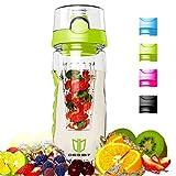Botella, Degbit® Plástico ecológico y sin BPA botella de agua, aprox. 1L bpa free botella agua deporte, tritan botella reutilizables con Infusor de Esencia de Frutas + Filtro ProtectorLibre de Toxinas