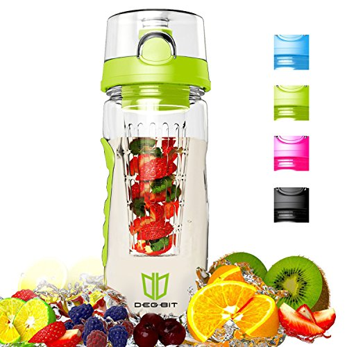 Image of Wasserflasche, Degbit [BPA-freiem Tritan] Kunststoff Trinkflasche Sport, Flasche ca. 1L, Sportflasche Auslaufsicher, Trinkflaschen BPA Frei Infuser mit Verschluss & Tragehenkel, Wasserflasche (Grün)
