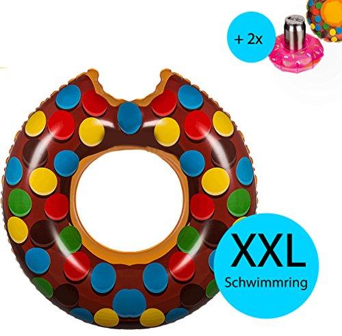 Riesen XXL aufblasbarer Donut in Braun mit 2x aufblasbaren Getränkehalter für Getränke oder Cocktails │ Durchmesser 119cm │ Schwimmring Schwimmreif Luftmatratze Schwimmkissen Wasserspielzeug ideal für den Pool