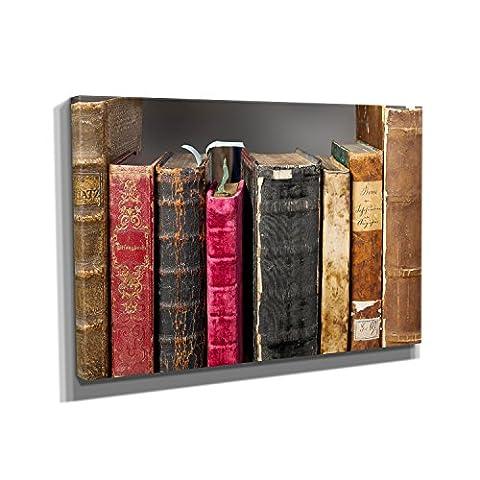 Bookshelf - Kunstdruck auf Leinwand (60x40 cm) zum Verschönern Ihrer
