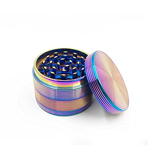 Aiernuo Rainbow Herb Grinders, Portable Zinc Alloy Herb Grinder for Tobacco and Most Herbs with Pollen Scraper and Magnetic Top, 63mm x45mm, 4 Pieces