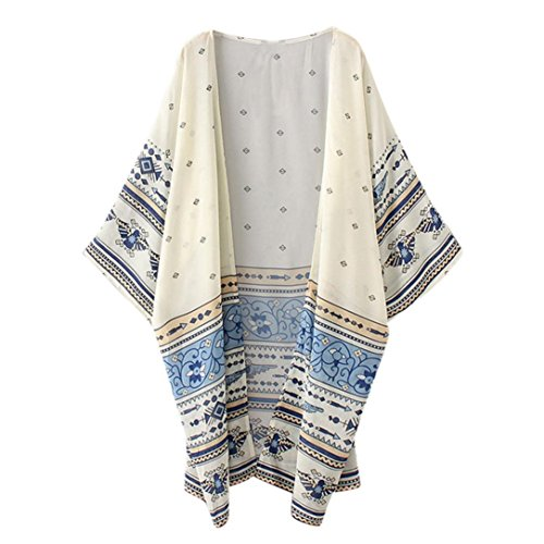 KanLin Damen Drucken Chiffon lose Schal Kimono Strickjacke Top Deckel Bluse Gelb
