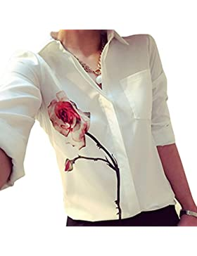 VENMO Las mujeres de manga larga blusa de flores de color rosa de Solapa camisa