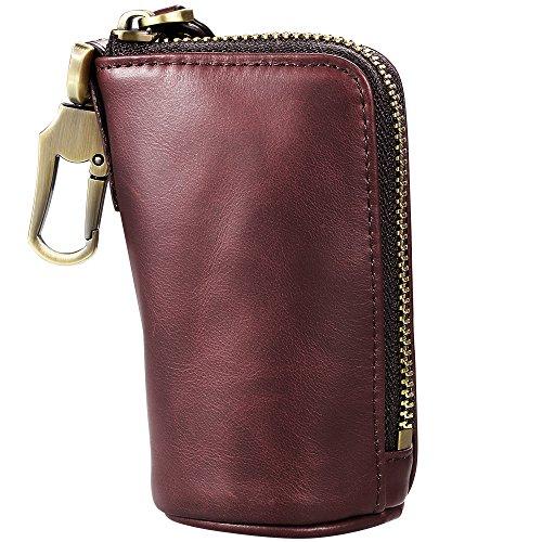 Schlüsseletui, Leder Geldbörse Einzigartiges Design Autoschlüssel Tasche Po Große Kapazität】 Zipper Card Bag mit Metallhaken und Schlüsselanhänger für Männer / Frauen - Braun