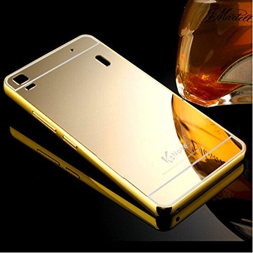 CLASSICO Luxury Aluminium Bumper Plus Mirror Acrylic Back Cover For LENOVO K3 (A 6000)(GOLD)